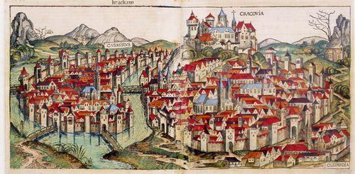 Widok lokowanego Krakowa naprawie mageburskim (niemieckim) w1257 r. - zniszczony najazdami mongolskimi Kraków został nanowo lokowany (założony) przezksięcia Bolesława Wstydliwego.