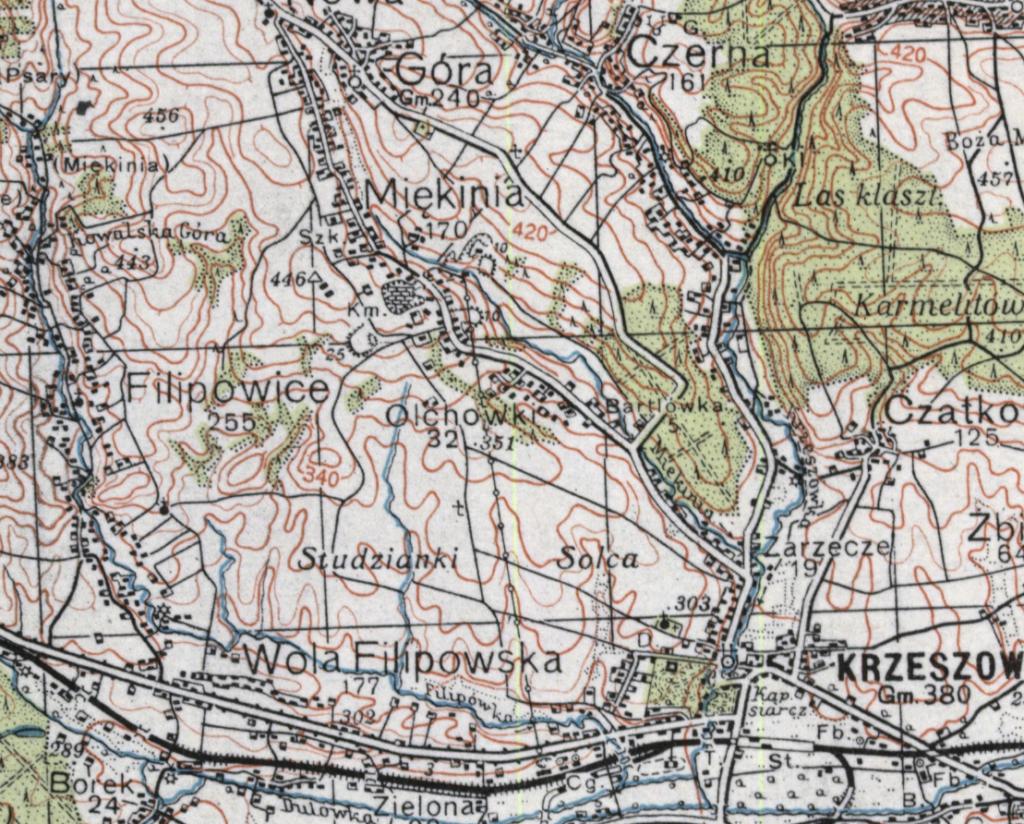 Mapa Miękini iokolic 1939 r.
