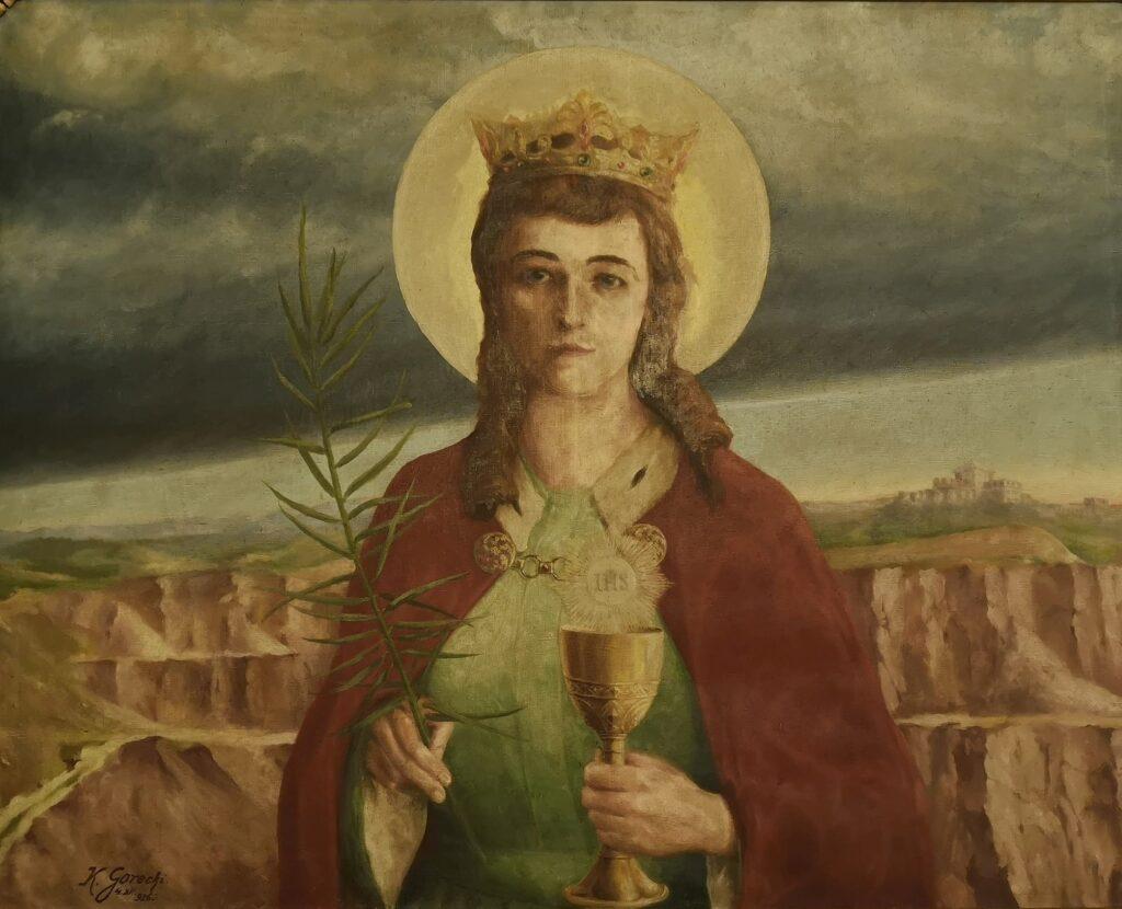 Św. Barbara, 180x120 cm, 1926/1927 r., wtle widoczny kamieniołom wMiękini