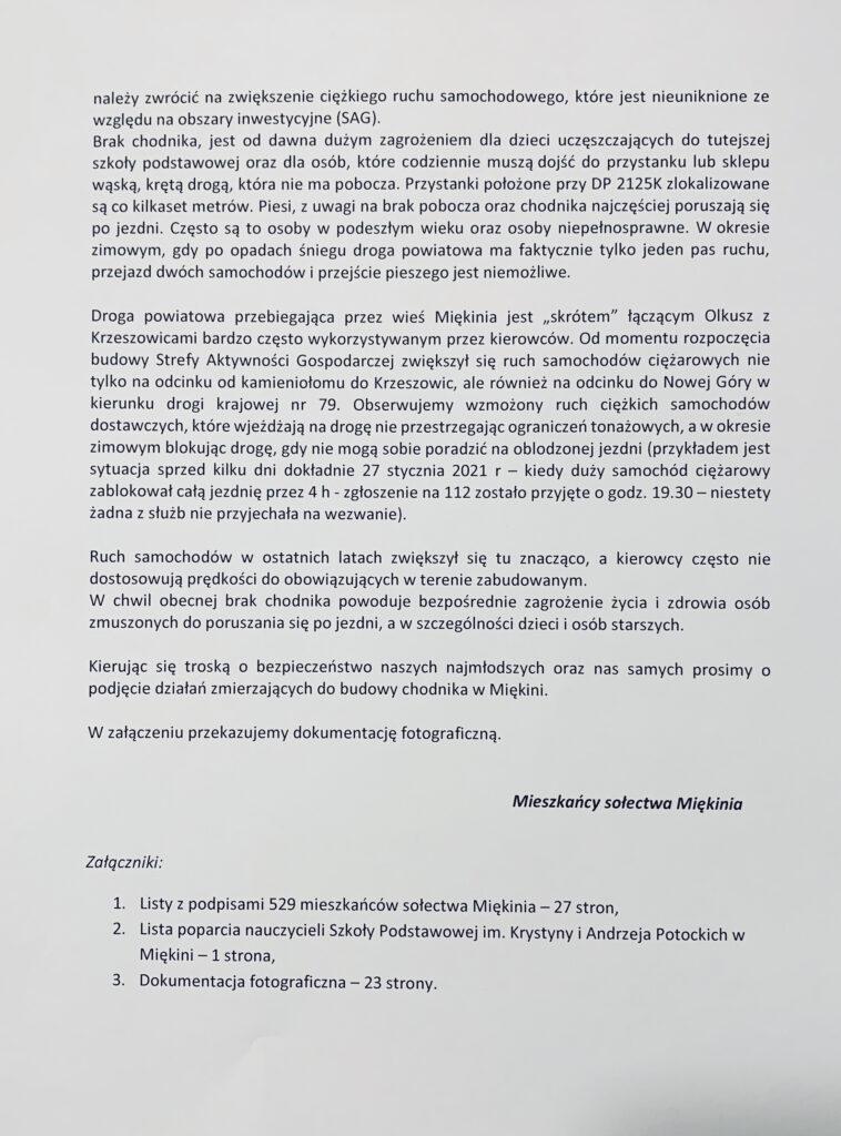 Złożyliśmy petycję wsprawie budowy chodnika wMiękini